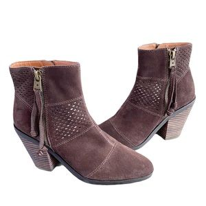 Lucky Brand Suede Double Zip Ankle Booties Ramses